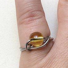 Prstene - oceľový prsteň s citrínom - 9979283_