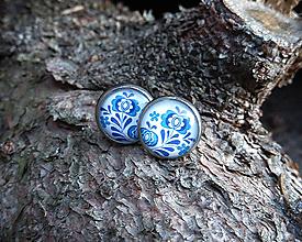 Náušnice - Modré folk napichovačky 12 mm - chirurgická oceľ - 9980132_