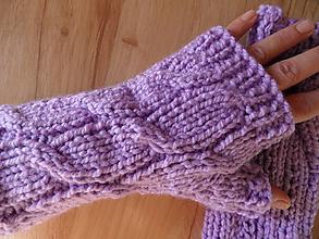 Rukavice - bezprstové rukavičky fialové - 9979080_