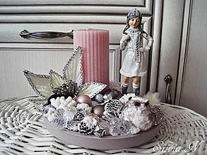 Dekorácie - Staroružová vianočná sviečka. - 9979008_