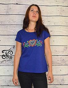 Tričká - Ručne maľované farebné folklórne srdiečko - skladom L - 9981108_