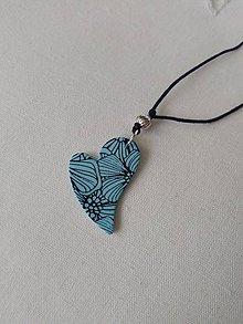Náhrdelníky - náhrdelník srdiečko modré - 9980968_