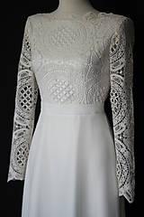 Šaty - Svadobné šaty s dlhým rukávom so sukňou do A - 9979187_