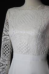 Šaty - Svadobné šaty s dlhým rukávom so sukňou do A - 9979188_