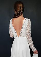 Šaty - Svadobné šaty s dlhým rukávom so sukňou do A - 9979192_