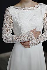 Šaty - Svadobné šaty s dlhým rukávom so sukňou do A - 9979215_