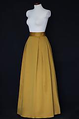 Sukne - Zlato-škoricová skladaná sukňa so spodničkou - 9979333_