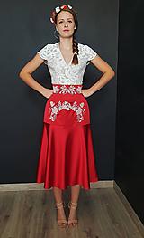 Sukne - Vyšívana sukňa na ľudový štýl rôzne farby - skladom červená - 9979489_