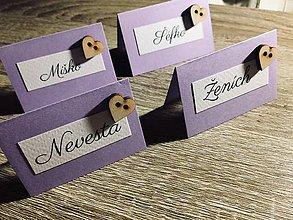 Papiernictvo - Svadobné menovky na svadobný stôl so srdiečkom - 9980139_