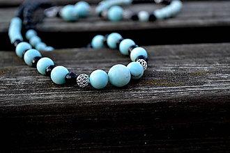 Náhrdelníky - Larimar a turmalín luxusný náhrdelník Ag 925 - 9978435_