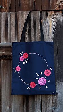 Nákupné tašky - Plátená taška ručne maľovaná- ruže - 9980104_