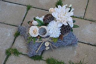 Dekorácie - Smútočná dekorácia bielo-ivory - 9979927_