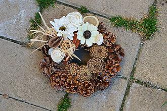 24248f8b9 Dekorácie - Prírodný smútočný venček s prírodnými dekoráciami s mašličkou  20cm - 9980034_