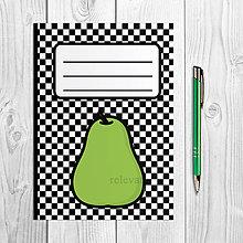 Papiernictvo - Zápisníky šachovnica ovocie (hruška) - 9978891_