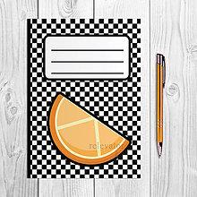 Papiernictvo - Zápisníky šachovnica ovocie (pomaranč) - 9978893_