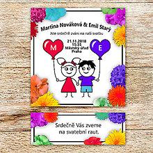 Papiernictvo - Svadobné oznámenie a pozvánka na svadobný raut - panáčikovia s balónikmi (kvetová) - 9981146_