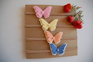 Detské doplnky - Dievčenská nylonová čelenka –  motýľ (Modrá) - 9984641_