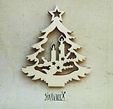 - Výrez z preglejky - Vianoce - vyrezávaný stromček, 7 cm - 9982570_
