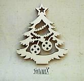 - Výrez z preglejky - Vianoce - vyrezávaný stromček, 7 cm - 9982605_