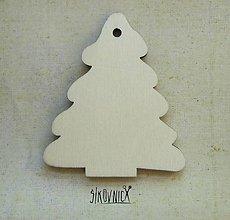 Polotovary - Výrez z preglejky - Vianoce - stromček, 7,5 cm - 9981424_