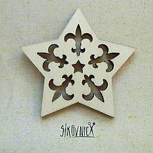 Polotovary - Výrez z preglejky - Vianoce - hviezdička, 6,5 cm - 9982545_