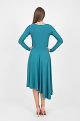 Šaty - - 40% MIESTNE ASYMETRICKÉ ŠATY S DLHÝM RUKÁVOM (PETROLEJOVÉ) - 9982308_