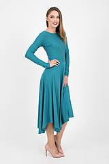 Šaty - - 40% MIESTNE ASYMETRICKÉ ŠATY S DLHÝM RUKÁVOM (PETROLEJOVÉ) - 9982309_