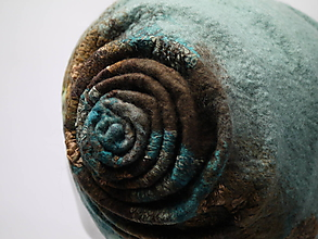 Čiapky - Vlnená čiapka zeleno-modrá - 9984750_