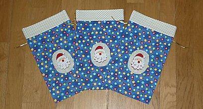 Úžitkový textil - Vrecúška na mikulášske drobnosti 1 - tri farby (modrá) - 9982591_