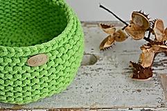 Košíky - Pletený košík - zelený (neón) - 9982196_