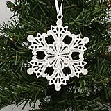 Dekorácie - Vianočná ozdoba čipka snehové vločky SADY - 9983639_