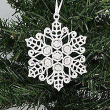 Dekorácie - Vianočná ozdoba čipka snehová vločka 25 rôznych (L) - 9983376_