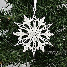 Dekorácie - Vianočná ozdoba čipka snehová vločka 25 rôznych (M) - 9983378_