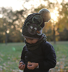 Detské čiapky - Hrejivý set s mackom - 9984753_