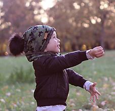Detské čiapky - Hrejivý set - kamufláž - 9984821_