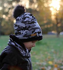 Detské čiapky - Hrejivý set - kamufláž - 9984831_