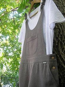 Nohavice - Ľanové krátke nohavice - overal s uzlíkami :) - 9982826_