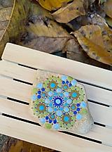 Drobnosti - Jesenná zelenomodrá nálada - Na kameni maľované - 9983770_