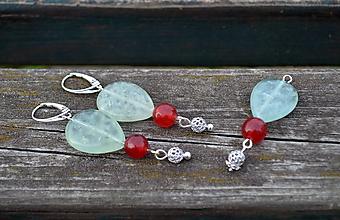 Sady šperkov - Prehnit a jadeit sada náušnice a prívesok AG 925 - 9981803_