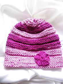 Detské čiapky - detská čiapka ružovo-cyklámenová - 9983566_