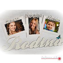 Dekorácie - Závesný trojitý fotorám RODINA - 9981556_