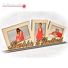 Dekorácie - Trojitý fotorámik BABKE a DEDKOVI na podstavci - 9981574_