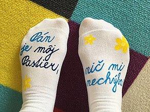 """Obuv - Motivačné maľované ponožky s nápisom: """"Pán je môj pastier!"""" (Na bielych) - 9984562_"""