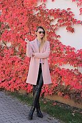 - Vlnený kabát ružový - 9983899_