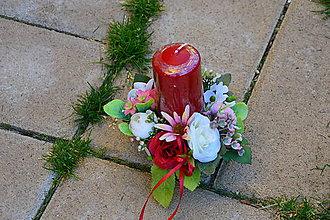 Dekorácie - Dekorácia bordovo-ružovo a ivory so sviečkou - 9983002_