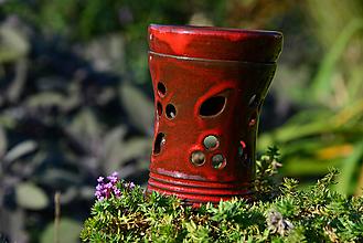 Svietidlá a sviečky - Aromalampa - červená (s lístkami) - 9981500_