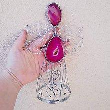 Dekorácie - Cínovaný anjel Achátový veľký 20-22 cm (Ružová) - 9986787_