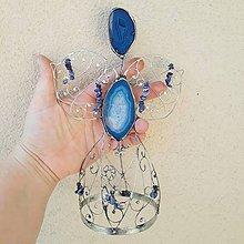 Dekorácie - Cínovaný anjel Achátový veľký 20-22 cm (Modrá) - 9986788_