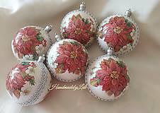 Dekorácie - Vianočné gule - Poinsetia - 9987213_