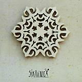 - Výrez z preglejky - Vianoce - snehová vločka, 5,5 cm - 9985920_